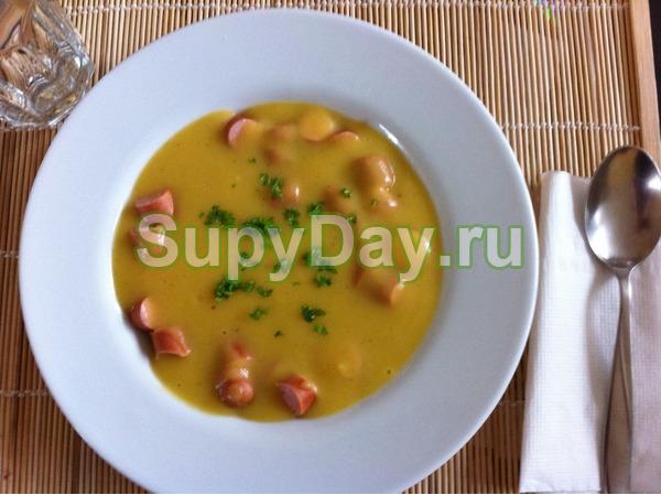 Овощной суп пюре с сосисками