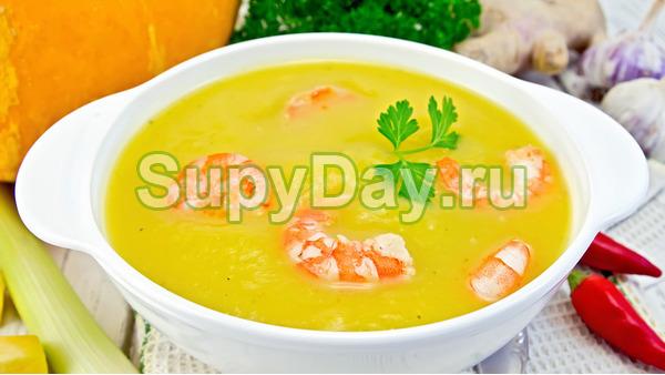 Суп пюре из картофеля с креветками