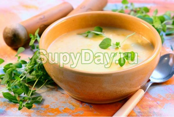 Суп пюре из картофеля с курицей и овощами