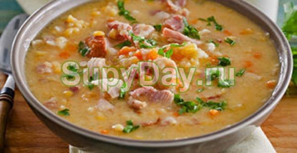 Рецепт горохового супа с копченой курицей - классический