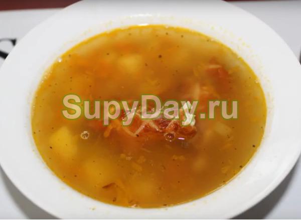 Рецепт горохового супа с копченой курицей - простейший вариант
