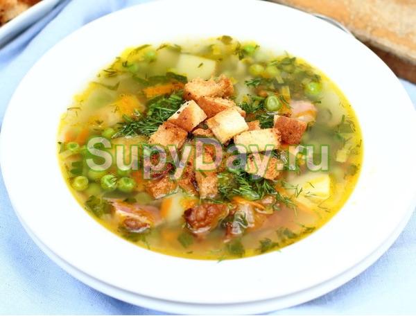 Рецепт горохового супа с копченой курицей - оптимальный для здоровья