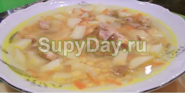 Рецепт горохового супа с копченой курицей для начинающих поваров