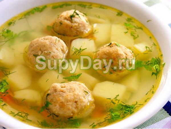 Суп с картофелем, вермишелью и фрикадельками