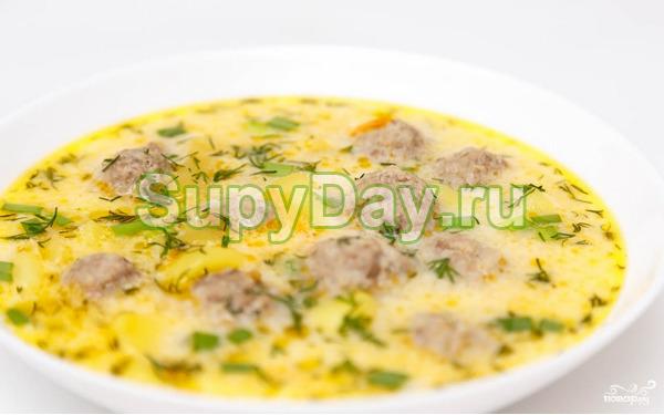 Сырный суп с фрикадельками в мультиварке