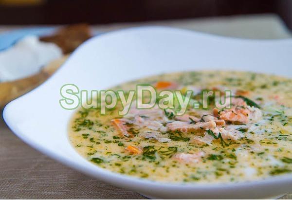 Суп из лосося со сливками по – фински с имбирем