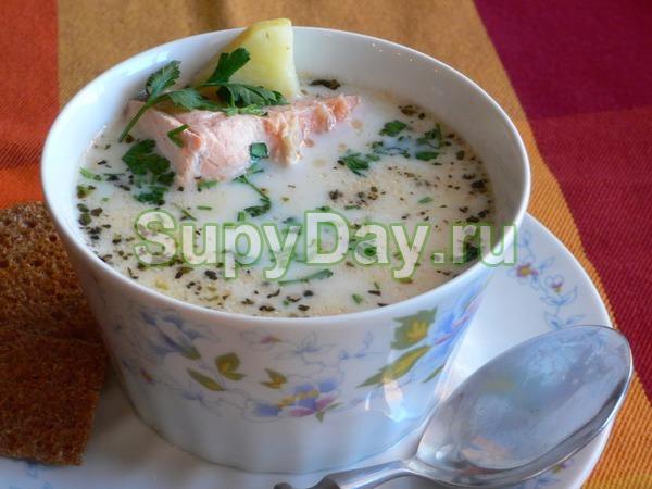 Суп из лосося со сливками и с белым, сухим вином