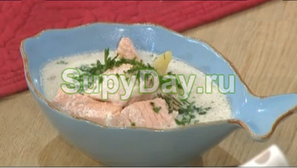 Суп из лосося со сливками и с плавленым сыром