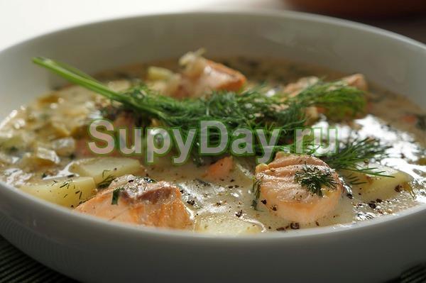 Суп из лосося со сливками и кедровыми орешками