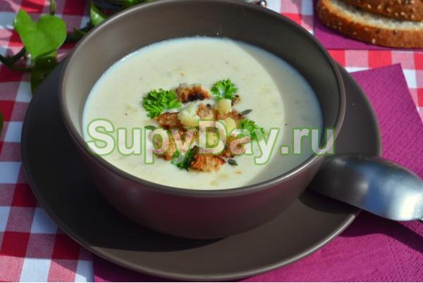Суп из цветной капусты с двумя видами сыра и мятой