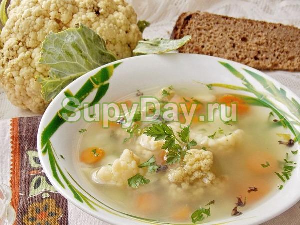Суп из цветной капусты с чечевицей и картофелем