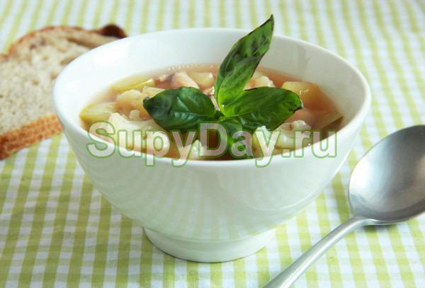 Суп из цветной капусты с фасолью