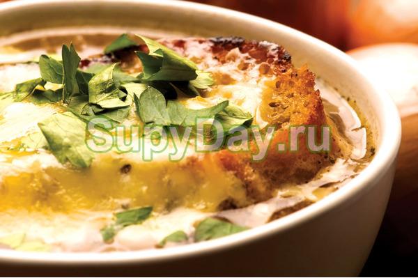 Луковый суп с белыми грибами