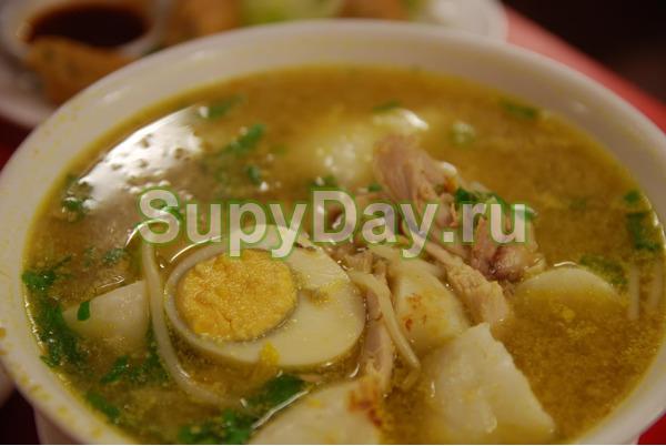 Куриный суп с домашней лапшой и сельдереем