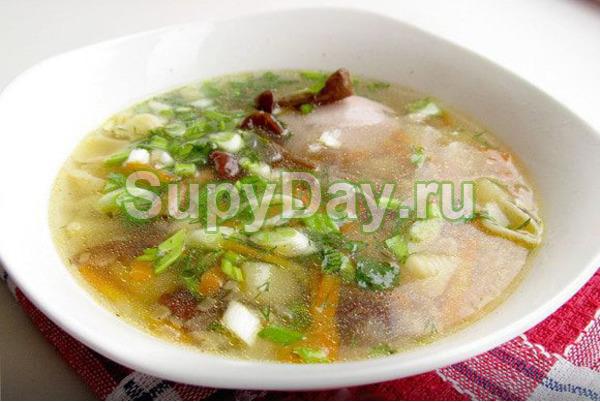 Суп с курицей и опятами
