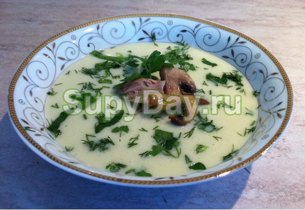 Суп-пюре с курицей и грибами