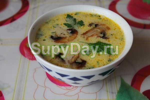 Суп с грибами, курицей и плавленым сыром