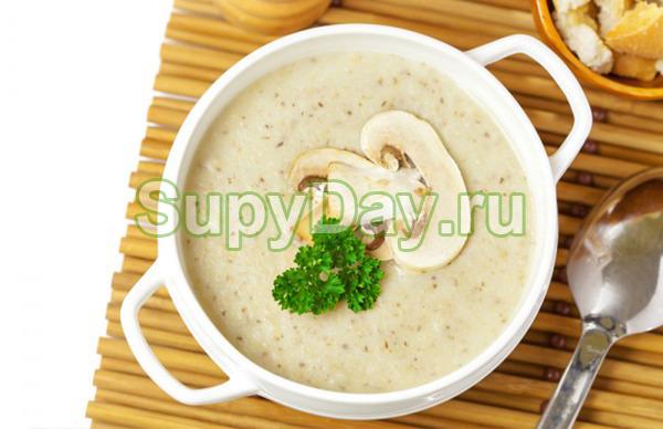 Сливочный крем-суп с курицей и грибами