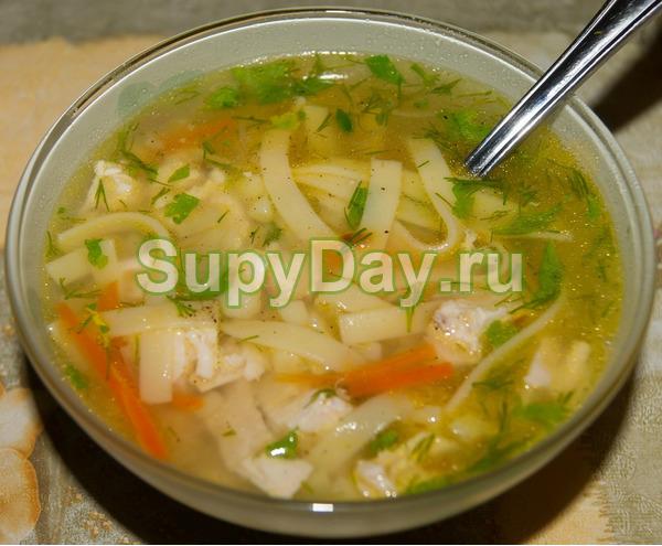 Суп лапша домашняя с курицей «Очень вкусная»