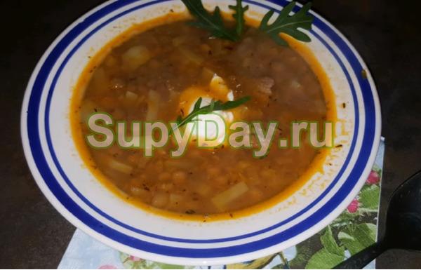 Суп из чечевицы с мясом и томатной пастой