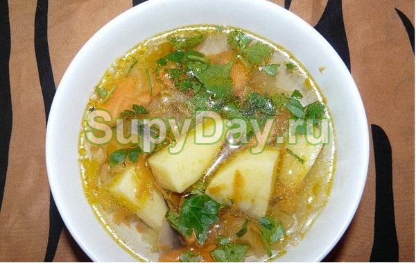 Суп из сушёных белых грибов на мясном бульоне