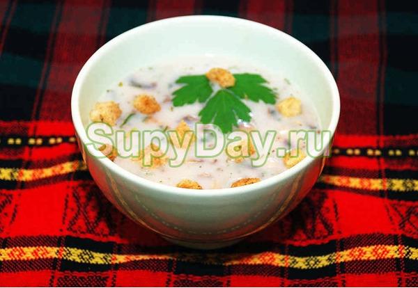 Суп из сушёных белых грибов и плавленных сырков