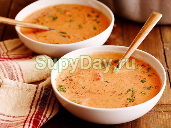 Томатный суп-бисквит с куриным мясом