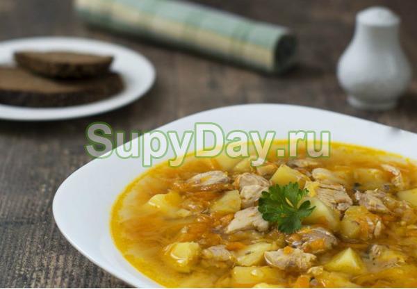 Суп из консервированной горбуши и пшенной крупы