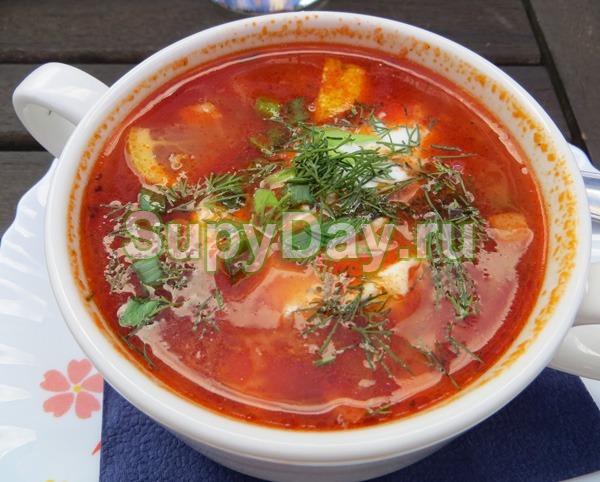 Суп солянка с грибами и с квашеной капустой
