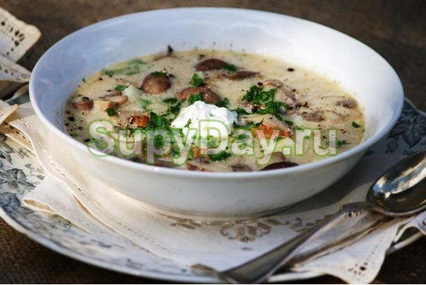 Суп из маслят с зеленым горошком