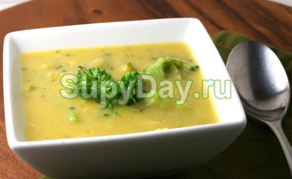 Сырный суп-пюре из брокколи и цветной капусты
