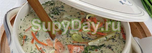 Сливочный суп из разных частей горбуши