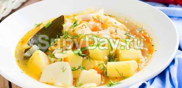 Капустный суп с пшеном
