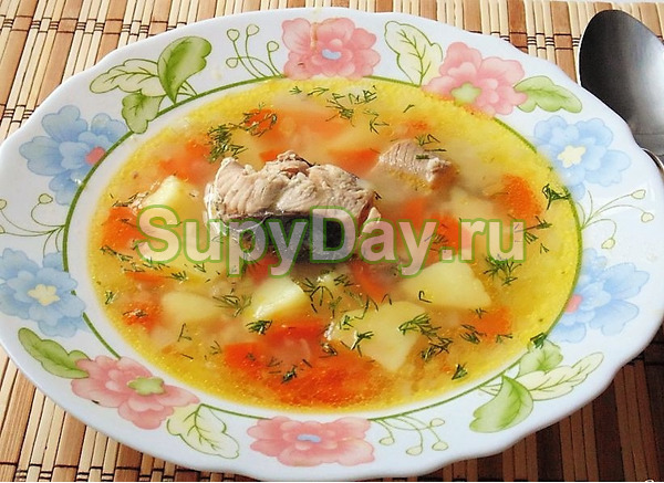 Супер витаминный суп с горбушей и пшеном