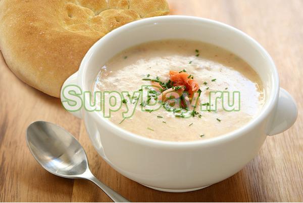 Крем суп из горбуши с овощами