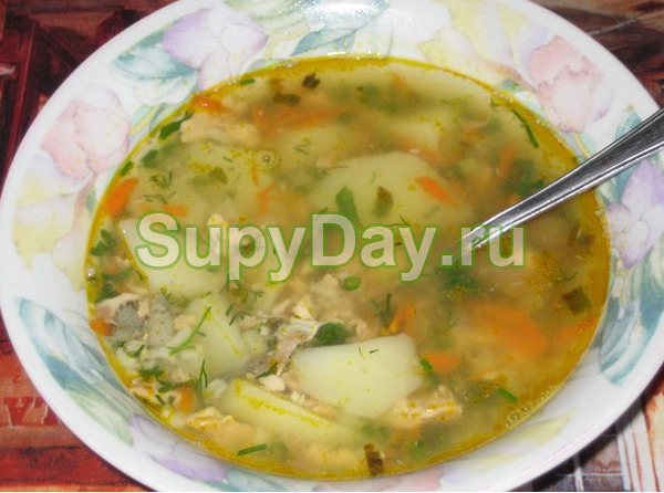 Суп со стейками горбуши с рисом