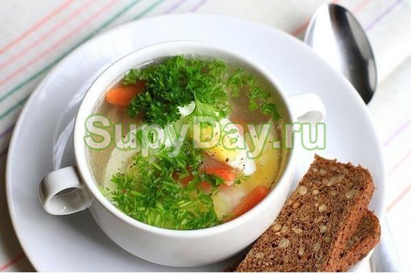 Суп с горбушей и яйцом