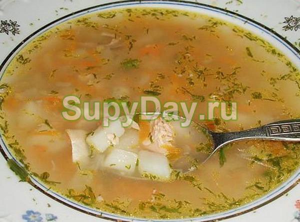 Рыбный суп из консервов горбуши и перловой крупы
