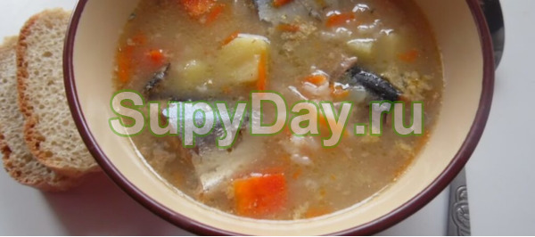Рыбный суп из консервов горбуши и риса