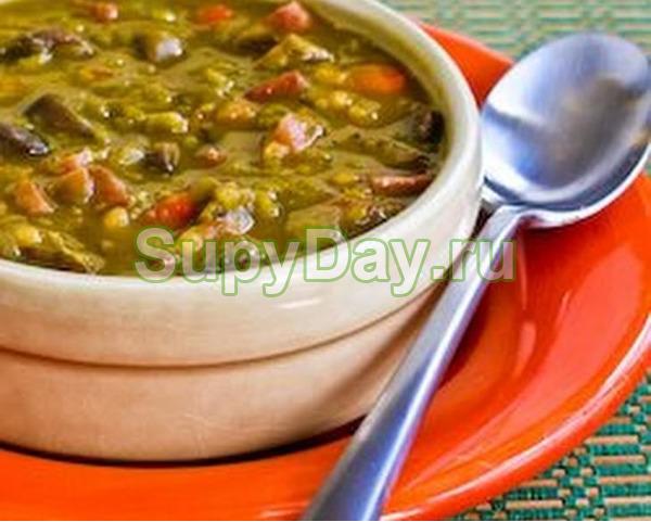 Гороховый суп с грибами и перловкой