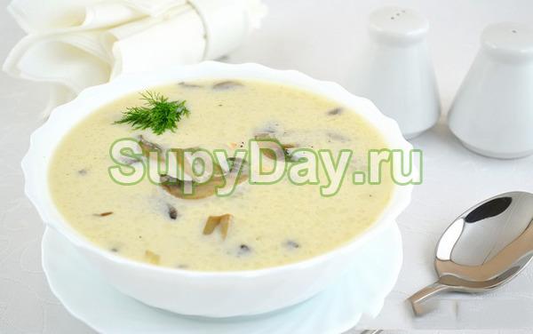 Грибной суп из шампиньонов с плавленым сыром и имбирем