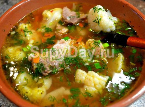 Суп из цветной капусты и мясом кролика