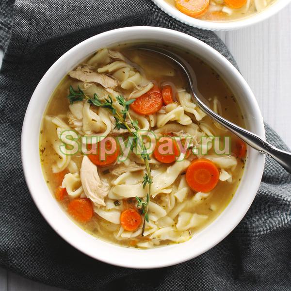 Легкий куриный суп с домашней яичной лапшой и грибами