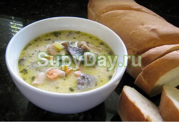 Сливочный куриный грибной суп