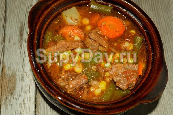 Суп с мясом и картошкой ассорти