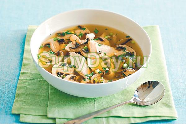 Как варить грибной суп на курином бульоне